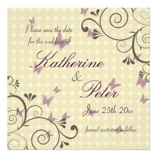 Vine & Butterfly  Save The Date Invitation Cream