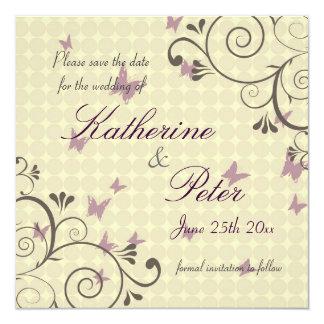 Vine & Butterfly  Save The Date Invitation Cream
