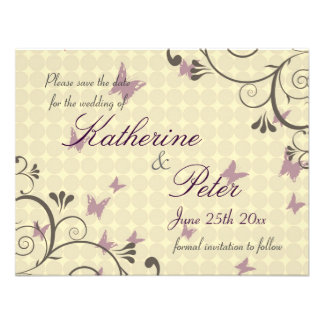 Vine & Butterfly  Save The Date Invitation Cream S