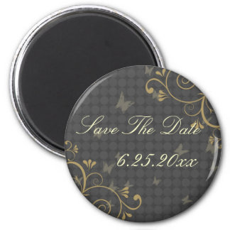Vine & Butterfly Save The Date Magnet Round