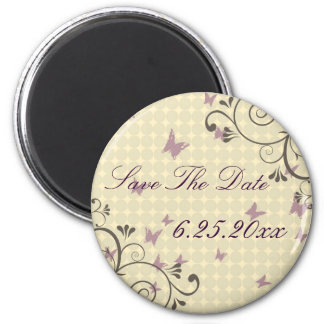 Vine & Butterfly Save The Date Magnet Round Cream