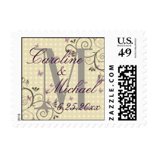 Vine & Butterfly Save The Date Monogram Postage