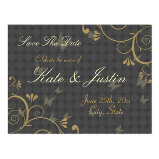 Vine & Butterfly Save The Date Postcard