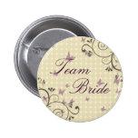 Vine & Butterfly Team Bride Button Cream