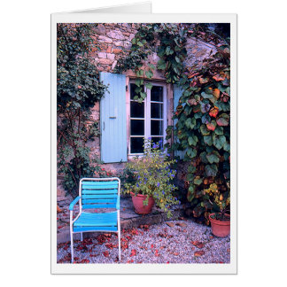 """"""" Vine-Covered House With Blue Shutters & Chair"""" Card"""