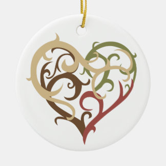 vine heart 4 Double-Sided ceramic round christmas ornament