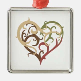 vine heart 4 square metal christmas ornament