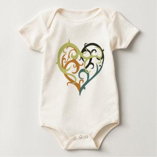 vine heart sea foam baby bodysuit
