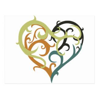vine heart tribal postcard