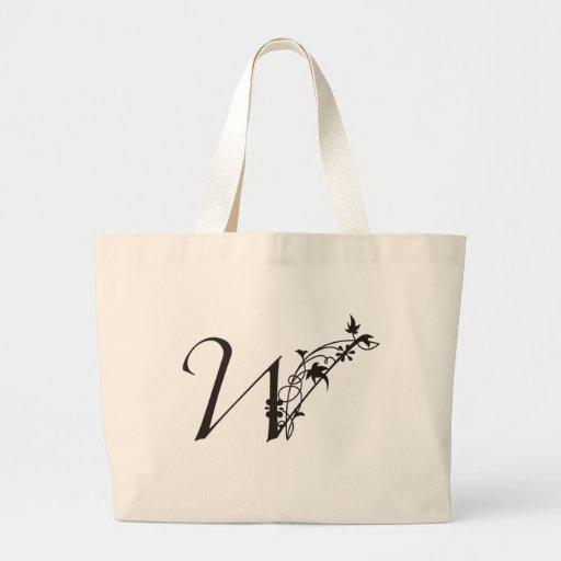 Vine Initial W Jumbo Tote Bag