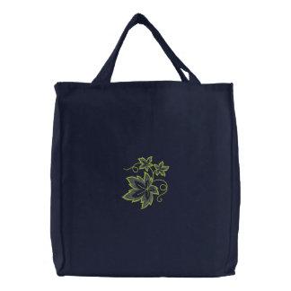 Vine Leaves Embroidered Tote Bag