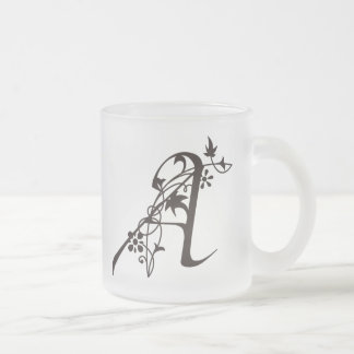 Vine monogram A Frosted Glass Coffee Mug