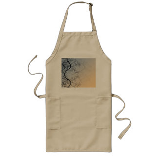 Vine Pattern over Blue and Peach Background Long Apron