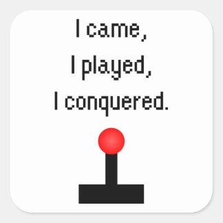 Vine yo jugué pegatina cuadrada