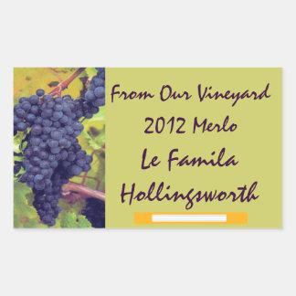 Viñedo de la botella de vino pegatina rectangular