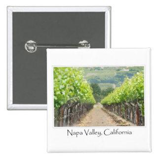 Viñedo de la primavera en Napa Valley California Pin Cuadrada 5 Cm