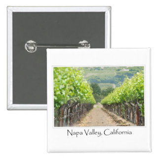 Viñedo de la primavera en Napa Valley California Pin Cuadrado