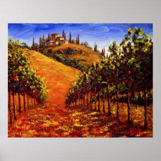 Viñedo de Toscana en la colina Impresiones