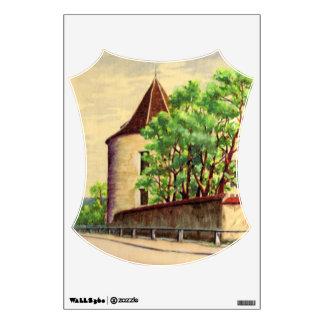 Viñedo del watercolour A del vintage en Francia Vinilo Adhesivo
