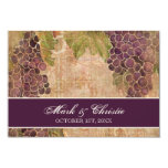 Viñedo envejecido de la uva que casa la tarjeta de invitación 8,9 x 12,7 cm
