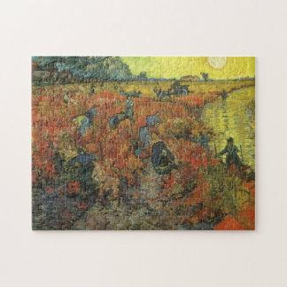 Viñedo rojo por arte del impresionismo del vintage puzzle