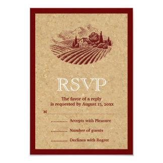 Viñedo y corcho del vintage que casan la invitaciones personales