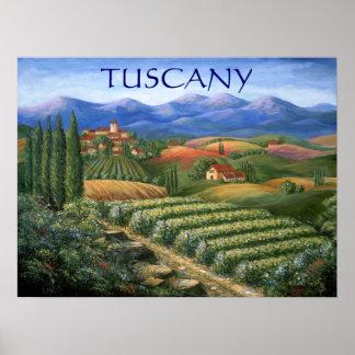 Viñedo y pueblo toscanos posters