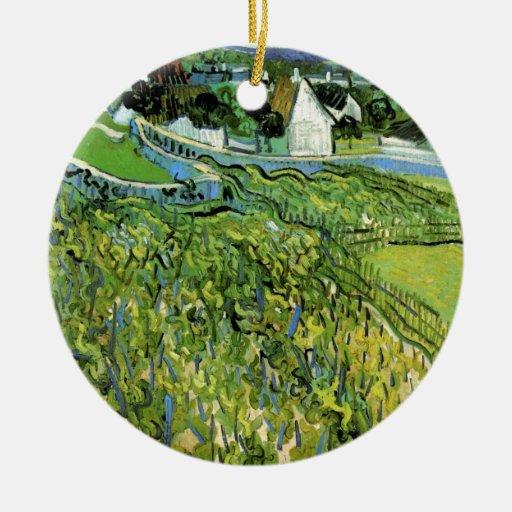 Viñedos con Auvers, paisajes de Van Gogh del Adorno Navideño Redondo De Cerámica