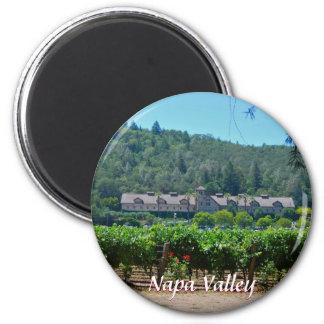 Viñedos del país vinícola de Napa Valley Imán Redondo 5 Cm