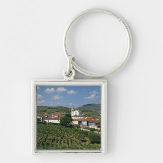 Viñedos, pueblo de San Miguel, el Duero Llavero Cuadrado Plateado