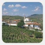 Viñedos, pueblo de San Miguel, el Duero Pegatina Cuadrada