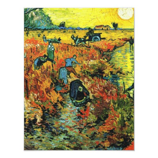 """Viñedos rojos de Van Gogh en las invitaciones de Invitación 4.25"""" X 5.5"""""""