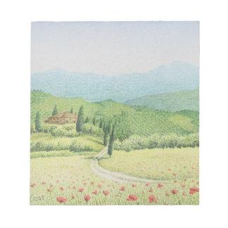 Viñedos toscanos, Italia en libreta en colores Bloc