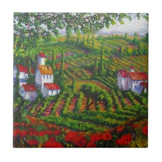 Viñedos y amapolas azulejo cuadrado pequeño