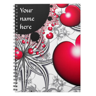 Vinehearts with Spiderplants Red Hearts Notebook