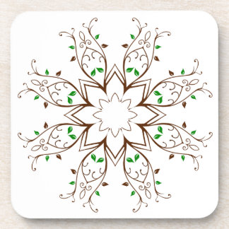 Vines and Leaves Floral Wreath Coaster