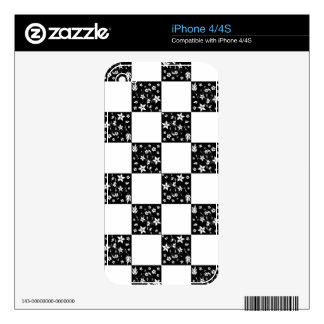 VINES CHECKERBOARD (a black & white design) ~ Decal For The iPhone 4