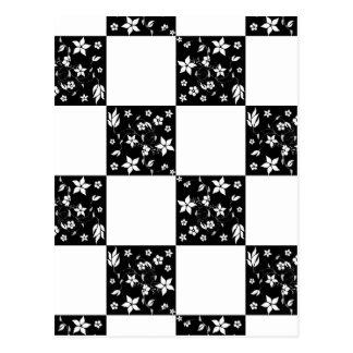 VINES CHECKERBOARD (a black & white design) ~ Postcard