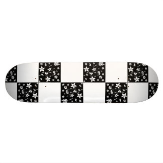VINES CHECKERBOARD (a black & white design) ~ Skateboard Deck