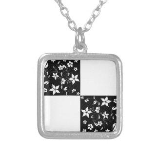 VINES CHECKERBOARD (a black & white design) ~ Square Pendant Necklace
