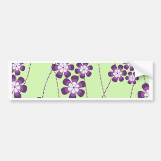 Vines of Purple flowers on Green Car Bumper Sticker