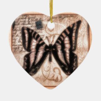 Vinetage Butterfly Tile Ceramic Ornament