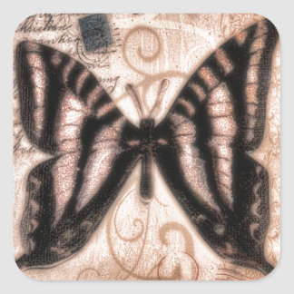 Vinetage Butterfly Tile Square Sticker