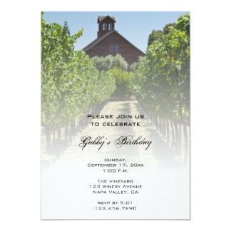 Vineyard and Red Barn Birthday Party Invitation