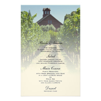 Vineyard and Red Barn Wedding Menu Personalized Stationery