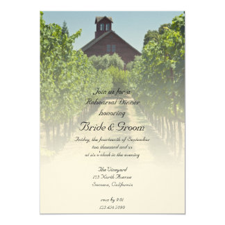 Vineyard and Red Barn Wedding Rehearsal Dinner Card