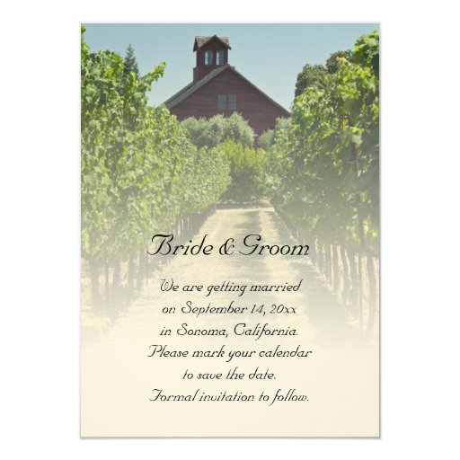Vineyard and Red Barn Wedding Save the Date 4.5x6.25 Paper Invitation Card
