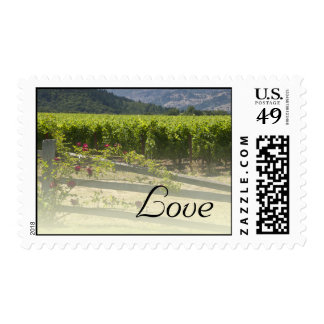 Vineyard and Rose Fence Love Wedding Postage Stamp