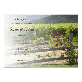 Vineyard and Rose Fence Wedding Invitation