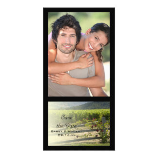 Vineyard and Rose Fence Wedding Save the Date Card